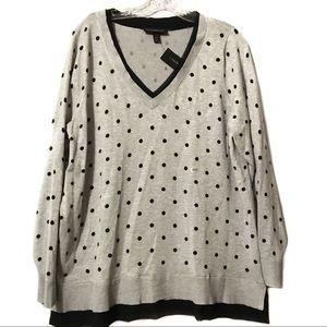 Lane Bryant Gray Black Polka Dot sweater NWT 18/20
